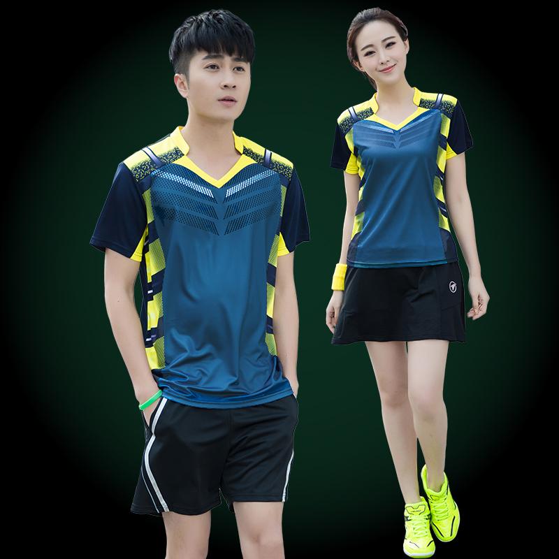 羽毛球服团体女短裙夏季速干短袖v团体球衣套装定制乒乓球运动服男