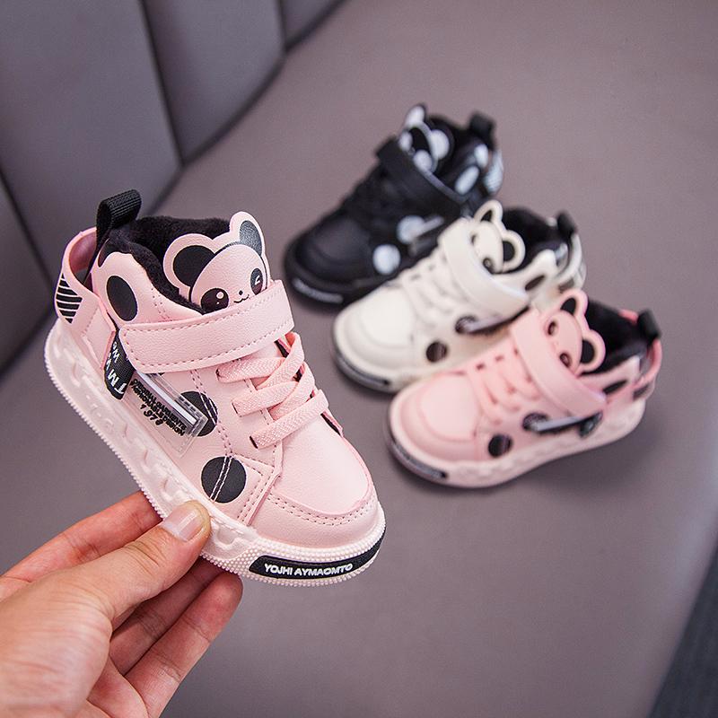 鞋子秋冬宝宝女童二靴子时尚加绒加厚男童春儿童棉鞋学步小童棉靴