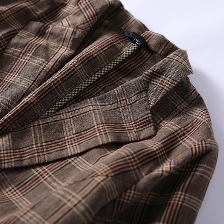 小耳出品春季新款色织亚麻外套对格裁剪工艺气质百搭西装详细照片