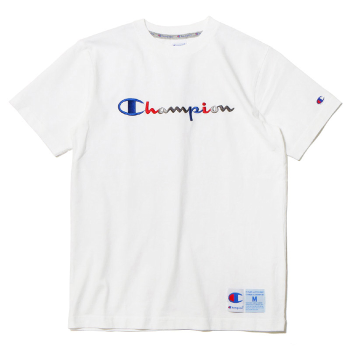 cde46187 Spot 19ss CHAMPION Japanese three-dimensional embroidery sketch LOGO cotton  short-sleeved T-shirt C3-H371