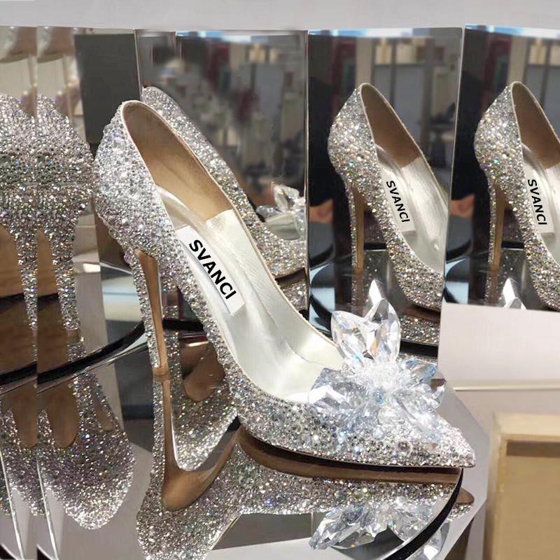 2020新款新娘水晶v新娘鞋水钻闪亮满钻单鞋女鞋高跟白色鞋中跟公主