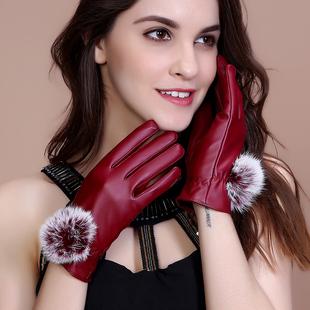 皮手套女秋冬加绒加厚保暖学生薄款触屏