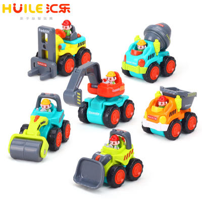 Huile 305 pocket engineering vehicle inertia mini pocket car model children's boy toy car set 2 years old