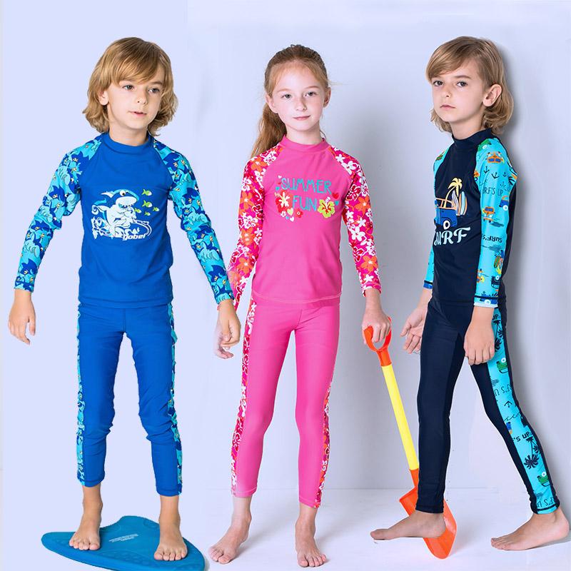 6181a51e1f Children's swimsuit in the Big Girl Sunscreen long-sleeved long swim trunks  girls diving suits boys baby swimwear