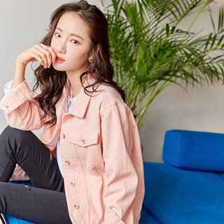 Loose pink denim outer jacket 2021 spring and autumn new Korean version of short small fresh candy color jacket top
