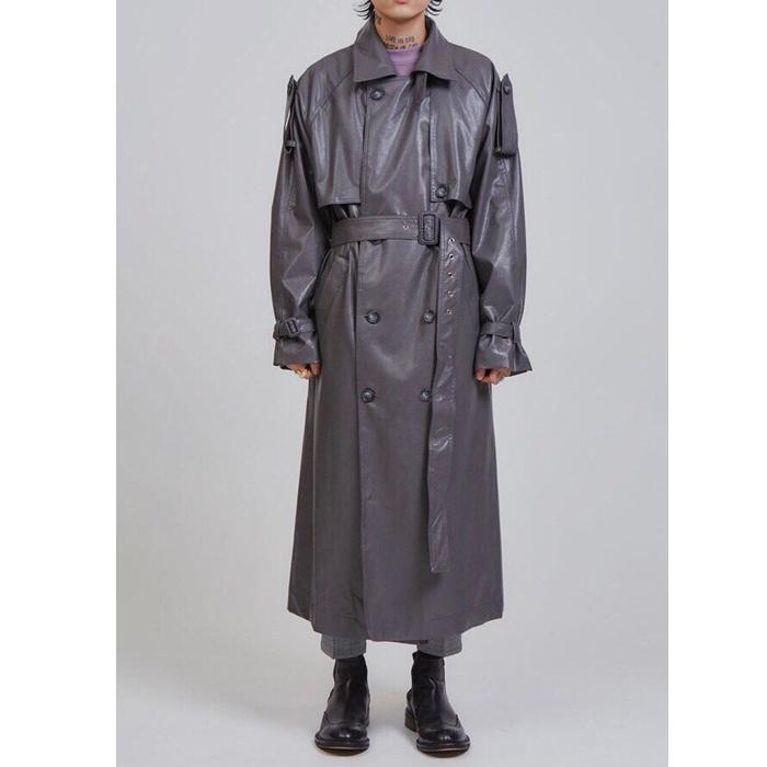 韩国东大门男装代购轻奢时装风衣PU皮质宽松中长款高端皮大衣外套