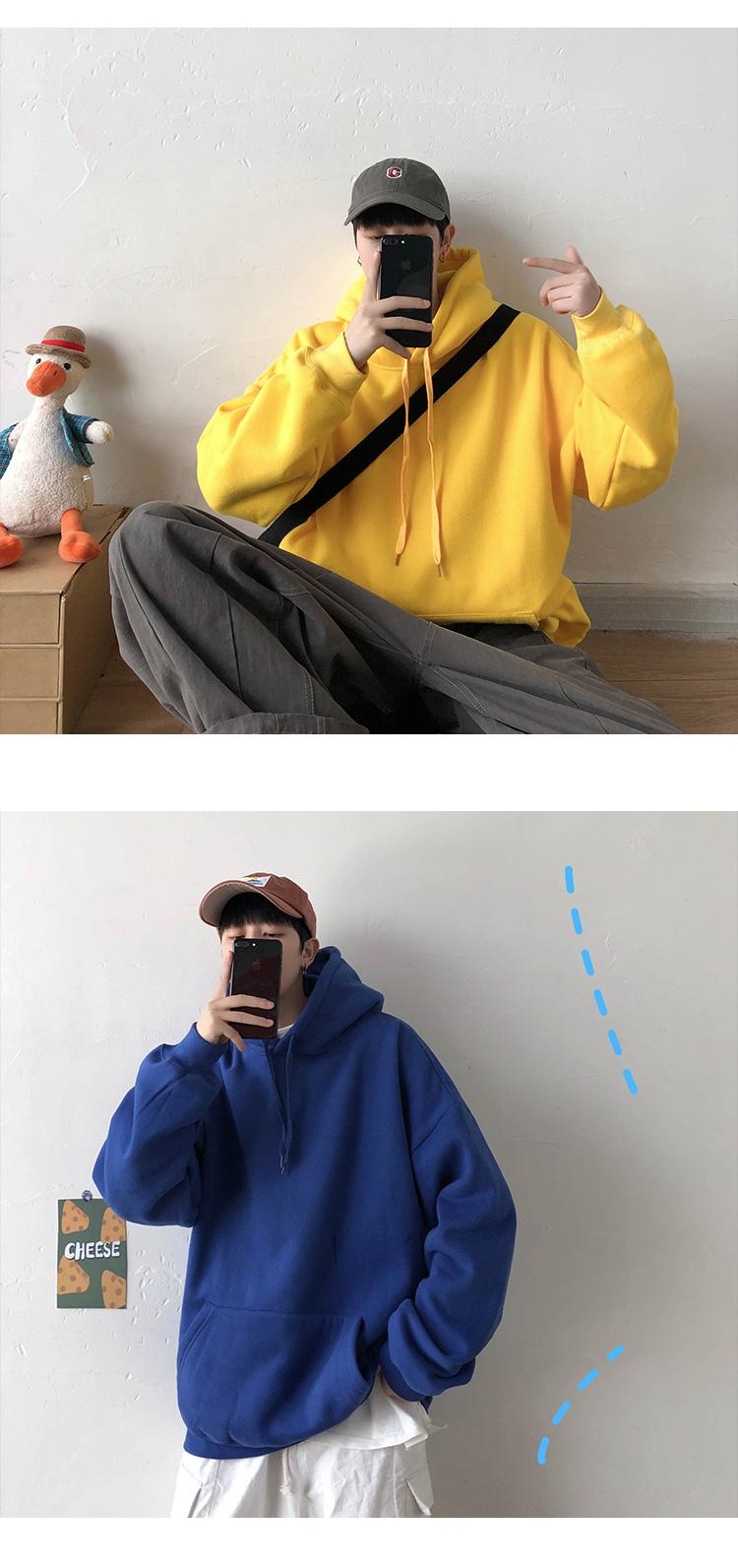 20/春装 男士宽松韩版连帽纯色卫衣男 十二色 W67 P50
