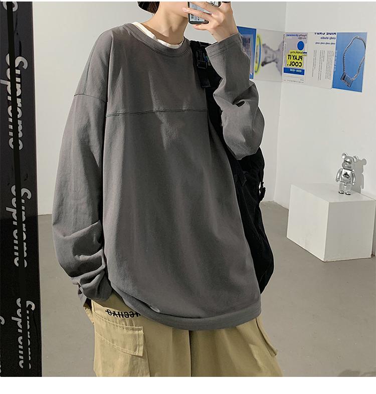 20/秋 宽松情侣纯色圆领长袖T恤tee  T502 P20