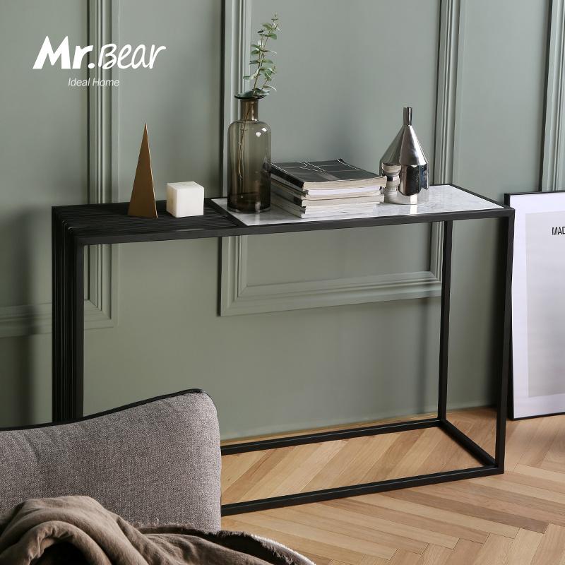 北歐鐵藝簡約玄關案臺 隔斷置物架長條桌 過道裝飾大理石玄關桌