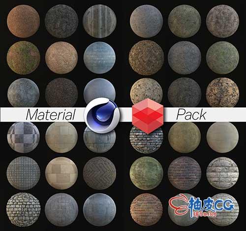 C4D Redshift金属塑料玻璃液体织物混泥土瓷砖木头地面材质球素材