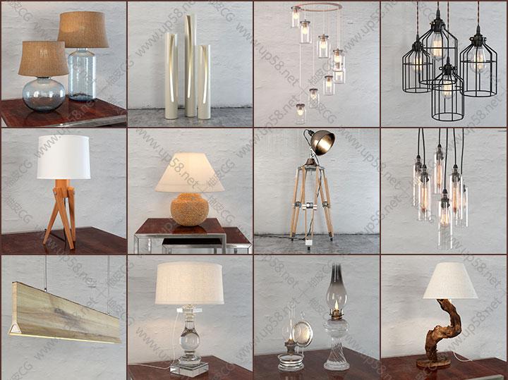3DsMax室内装饰吊灯现代复古艺术台灯 精细3D模型