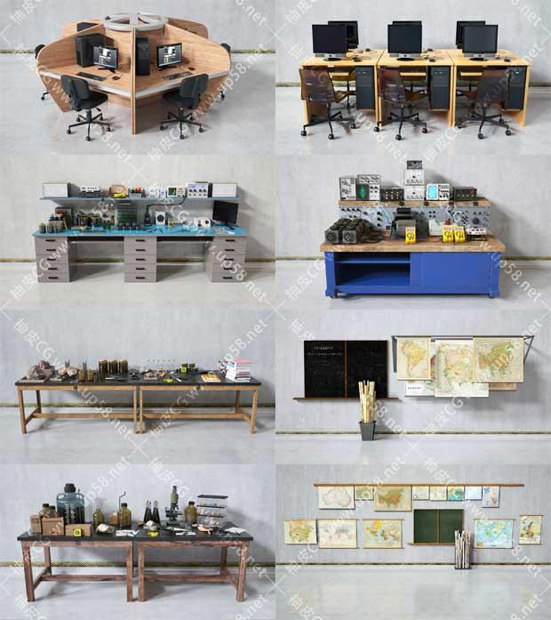 C4D / 3DSMAX / VRay教学实验室相关仪器器皿电脑3D模型