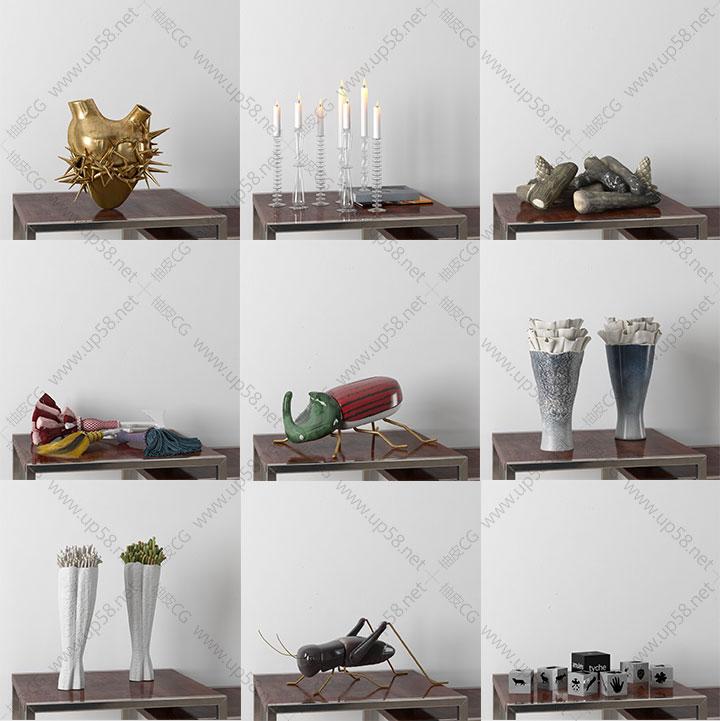 3dsmax VRay室内装饰吊灯花瓶壁柜小物件精细3D模型