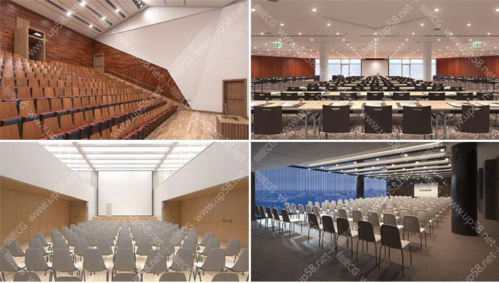 3dsmax/obj/fbx /VRay豪华会议室办公室礼堂公共室内场景精细3D模型