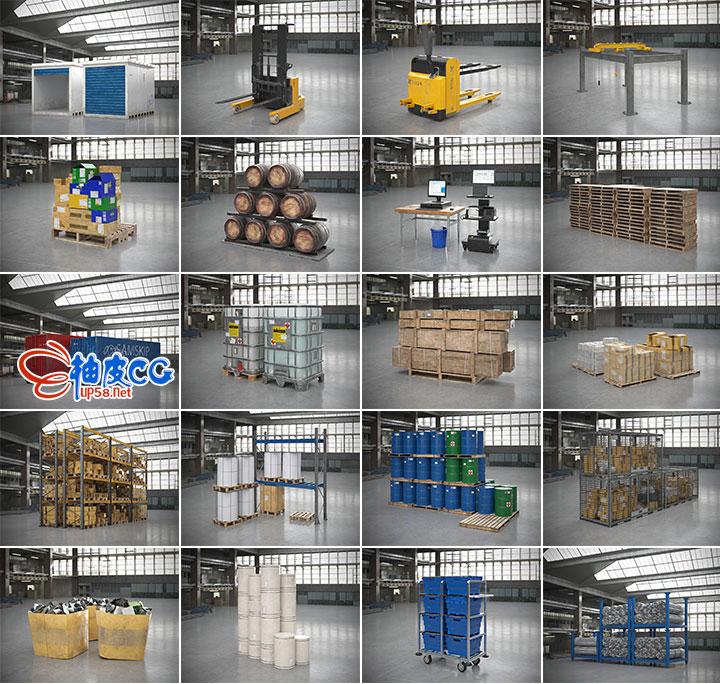 3DsMax高质量工厂仓库设备可视化模型 Archmodels vol.200