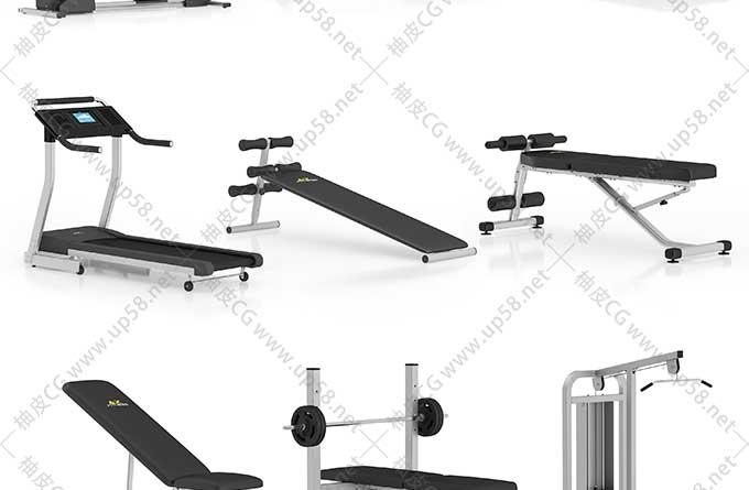3DSMAX / C4D / VRay健身设备器材高精度3D模型
