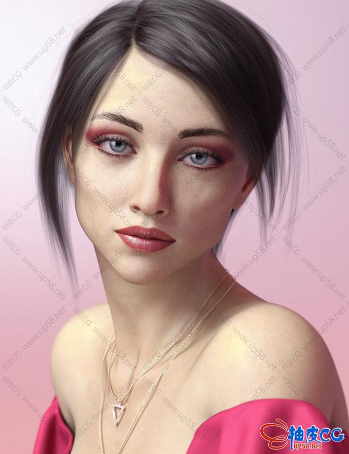 优雅美丽女性人物角色安吉莉卡 DAZ 3D精细模型