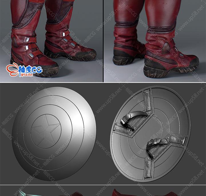 3Dsmax美国复仇者联盟美国队长精细3D模型