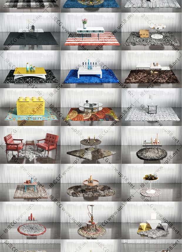 60组3DSMAX / VRay室内装饰地毯毛皮家具3D模型