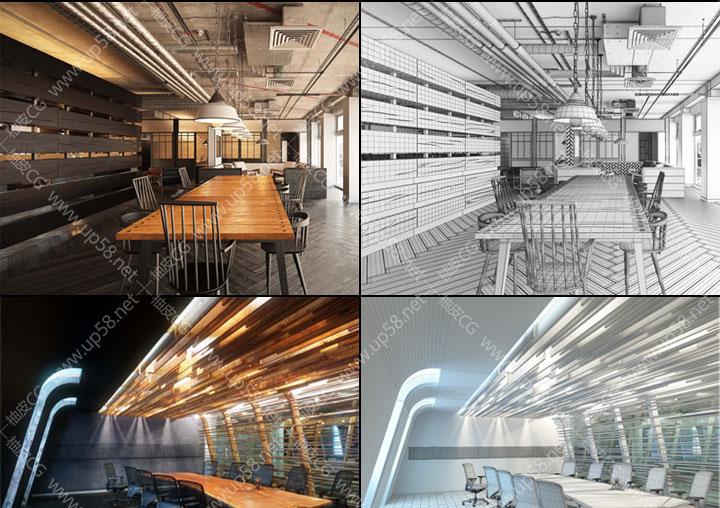 3dsmax豪华会议室会客厅室内专业全场景3D模型