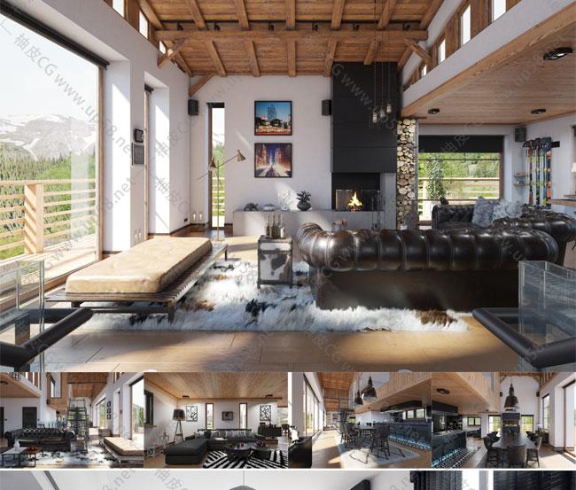 3DSMAX / VRay现代高品质公寓家庭室内装饰3D模型