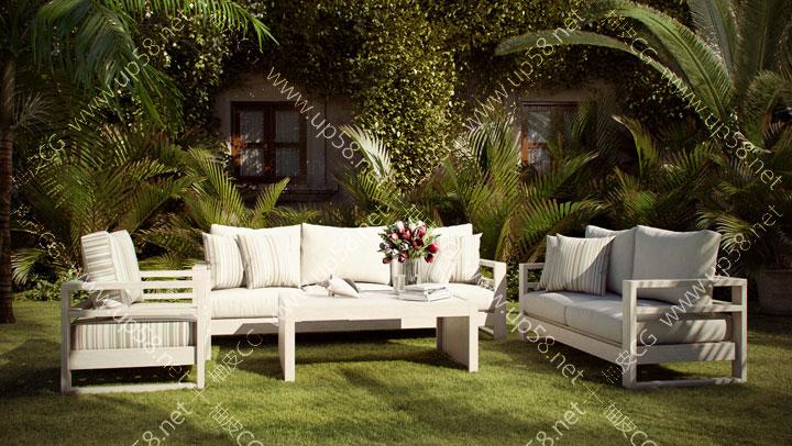 3dsmax C4D VRay室内设计家居沙发茶几休闲椅精细3D模型