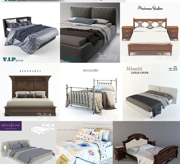 3dsmax室内欧式床3D模型合辑