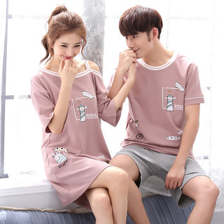 2 sets of price Korean version of spring and autumn cotton couple pajamas women summer short-sleeved thin sexy nightdresses men's home service