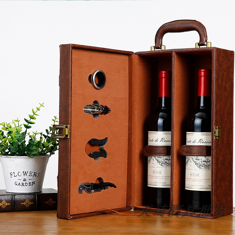 Double Red Wine Box Gift Box Leather Box High Grade Leather Box Two Bottles Of Wine Wine Gift Box Packaging Universal Wine Box