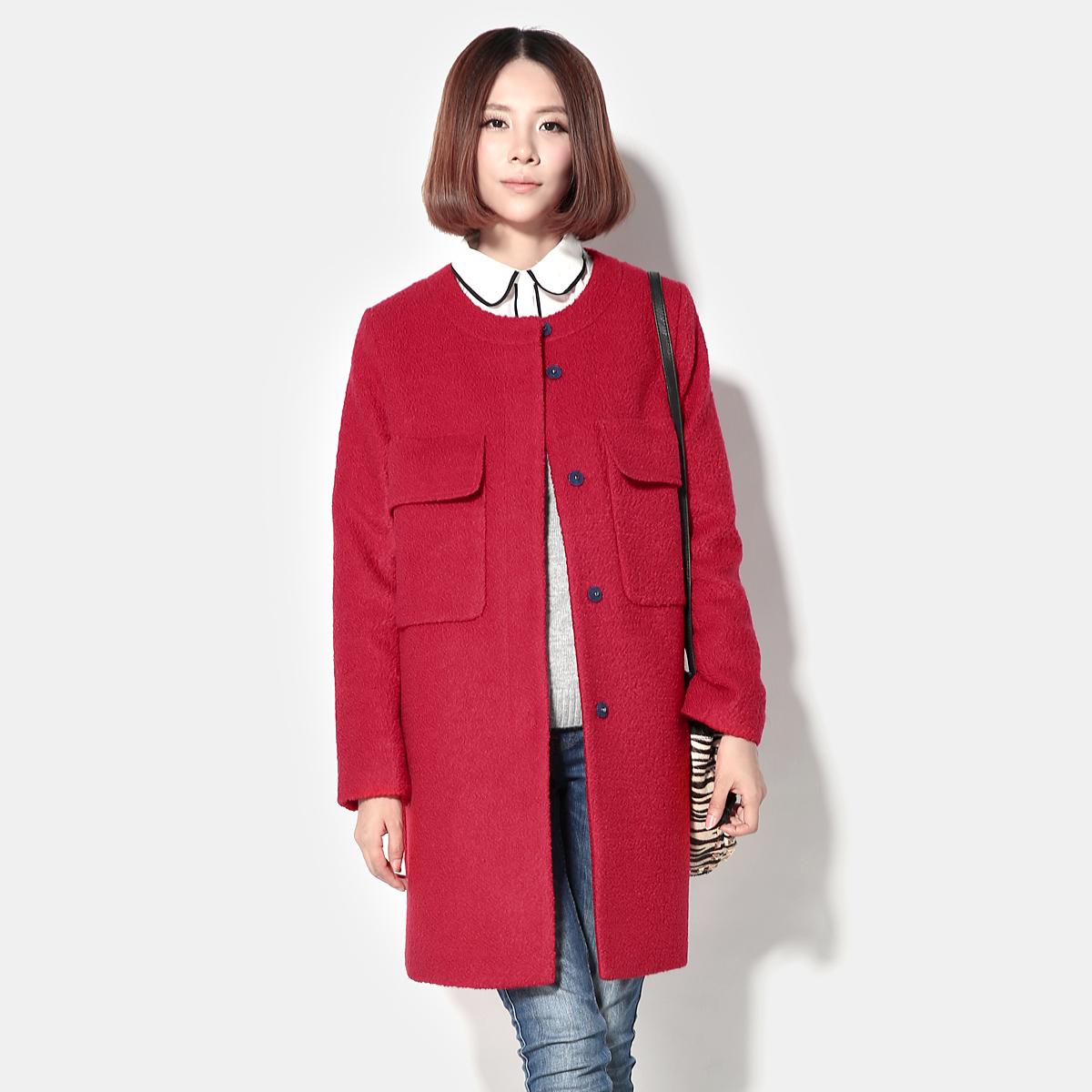 2013秋冬新款女装 韩版中长款修身羊毛呢外套女 呢子大衣