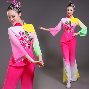 Chinese folk dance dress for women Yangko costume middle aged and old people classical national square waist drum umbrella fan dance performance female