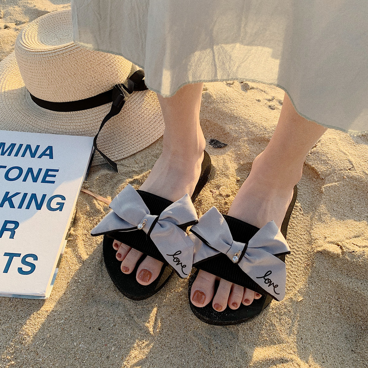 Thin Strips Slippers Female Summer Korean Fashion Wear Sweet Bow Beach Shoes Seaside Tourism Vacation Slip Www Buychinatoyou Com Buy China Shop At Wholesale Price By Online English Taobao Agent
