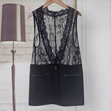 Lace vest ladies thin section wearing vest summer new large size cave outside black suit horse seching autumn