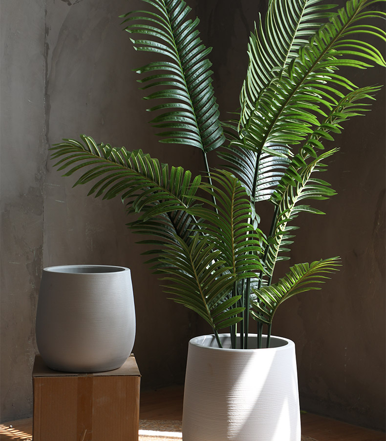 Green plant Nordic flowerpot vase I and contracted white ceramic hydroponic pottery basin of large diameter indoor plant decoration