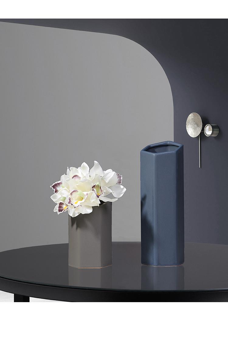 Nordic ceramic vase mesa creative hexagon morandi color flower arrangement sitting room place dry flower decoration decoration