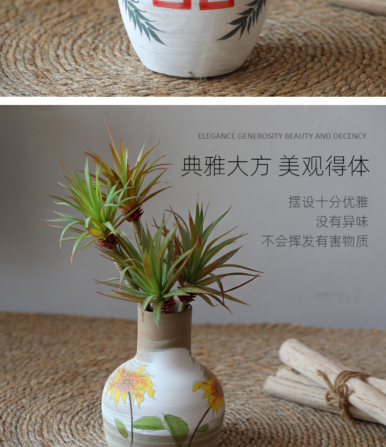 Restoring ancient ways, every crude TaoHua ware porcelain jingdezhen new Chinese style wedding happy character flower arranging dried flower vase furnishing articles ceramics