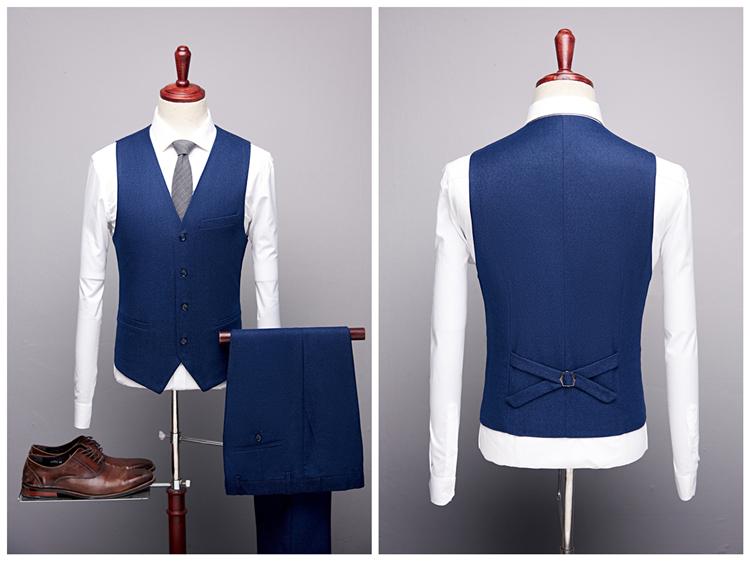 外贸爆款男士商务休闲西服男韩版修身结婚新郎西装礼服三件套P245