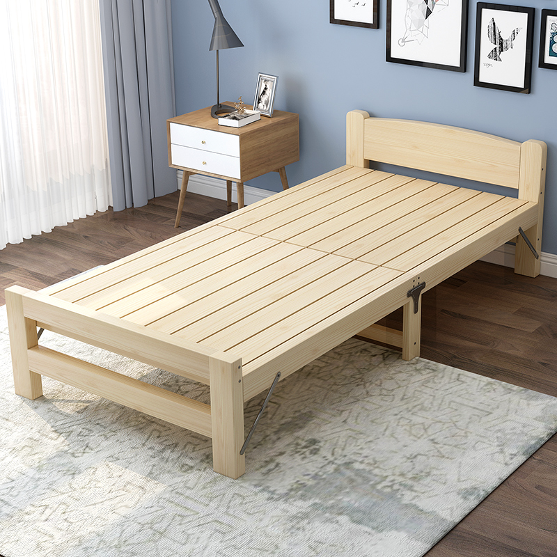 Folding Bed Single Bed Adult Solid Wood Bed Double Lunch Bed 1.2m  Economical Household Wood ...