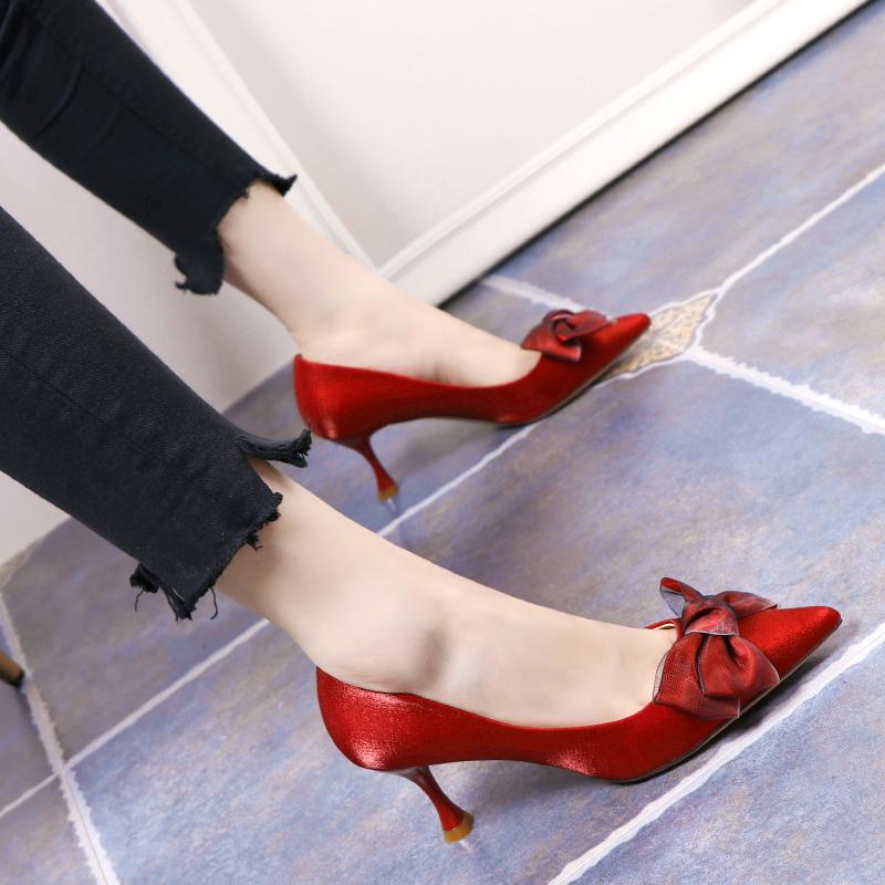 网红高跟鞋女2019春秋新款绸缎面红色婚鞋尖头细跟蝴蝶结浅口单鞋