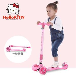 凯蒂猫儿童滑板车三轮四轮2-3-6岁宝宝踏板车女小孩摇摆车滑滑车
