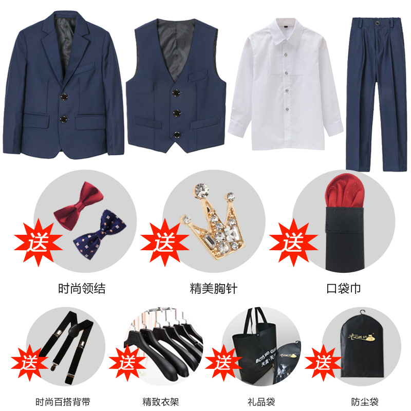 Navy 3 (suit + Vest + Shirt + Trousers + Two Bow Tie + Send Accessories)