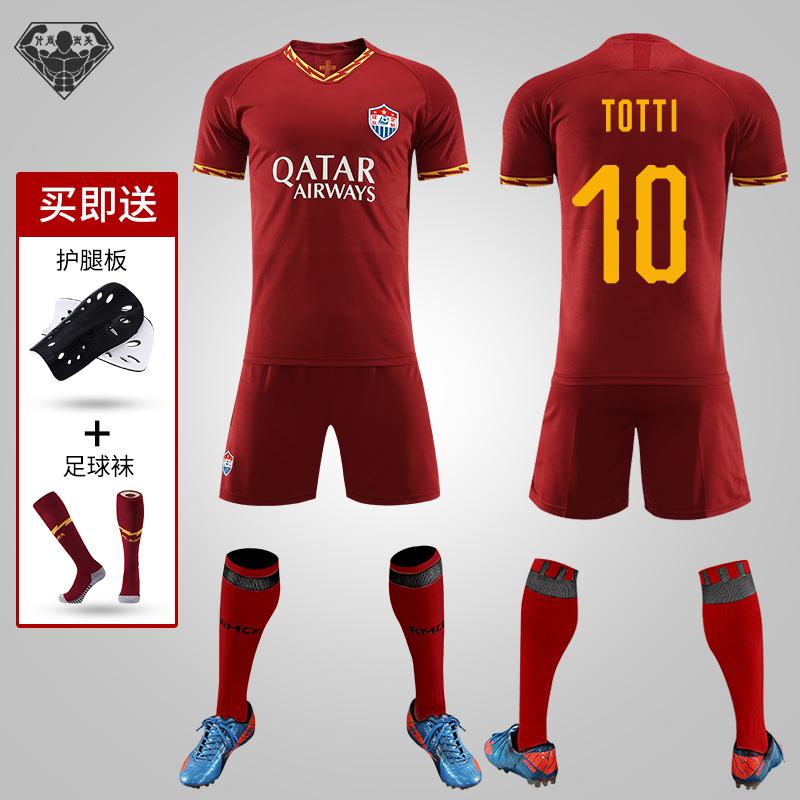 19-20 Mùa giải mới Rome sân khách áo đồng phục bóng đá màu đỏ phù hợp với đồng phục đội nam in quần áo bóng đá tùy chỉnh - Bóng đá