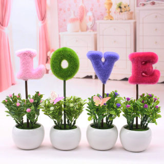 Love simulation plant small potted creative home furnishings living room desk TV cabinet mini decoration false flower ornaments