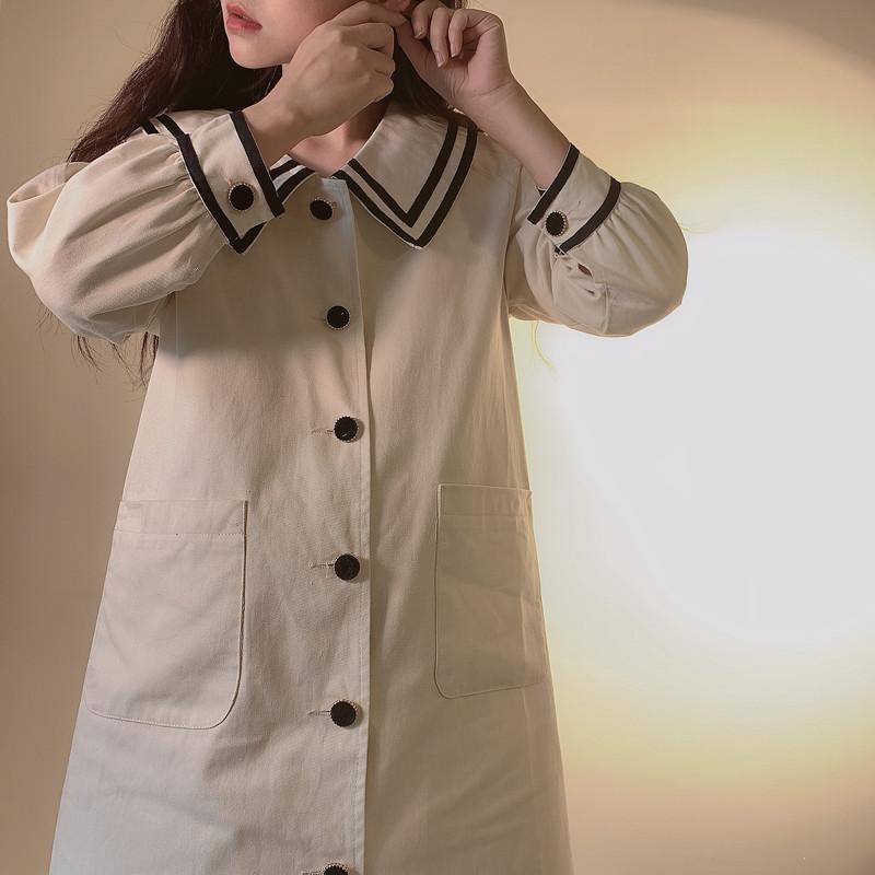 CHANGSHENG【海军系列】水手服英伦风少女中长款宽松系腰带外套秋