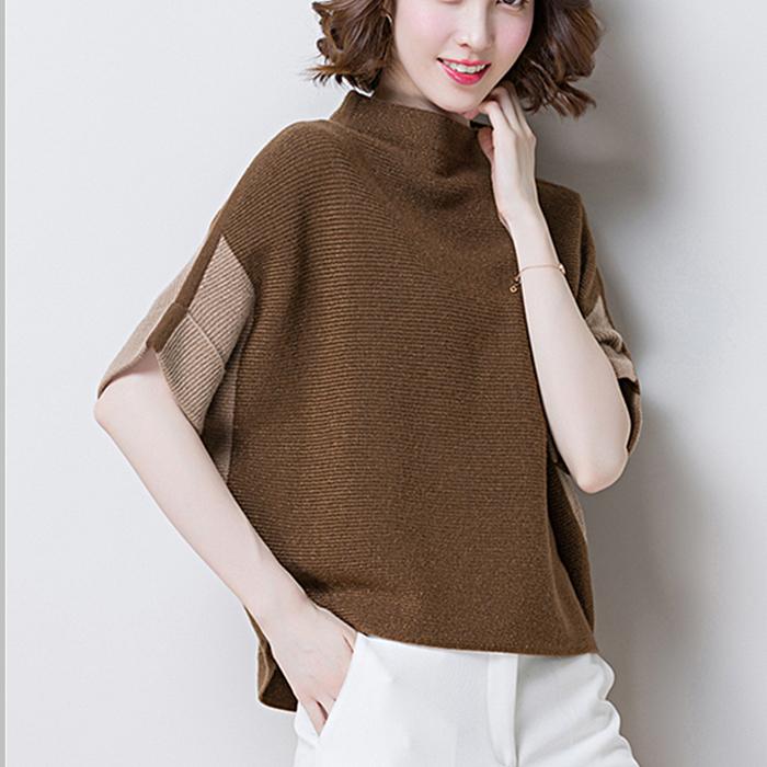 毛衣袖篇幅女宽松2018秋季新款蝙蝠半高领短袖羊毛衫针织套头外穿