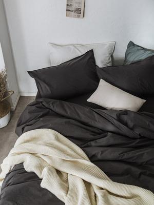 简约纯色60支水洗棉长绒棉四件套全棉被套床单裸睡床上用品春夏季