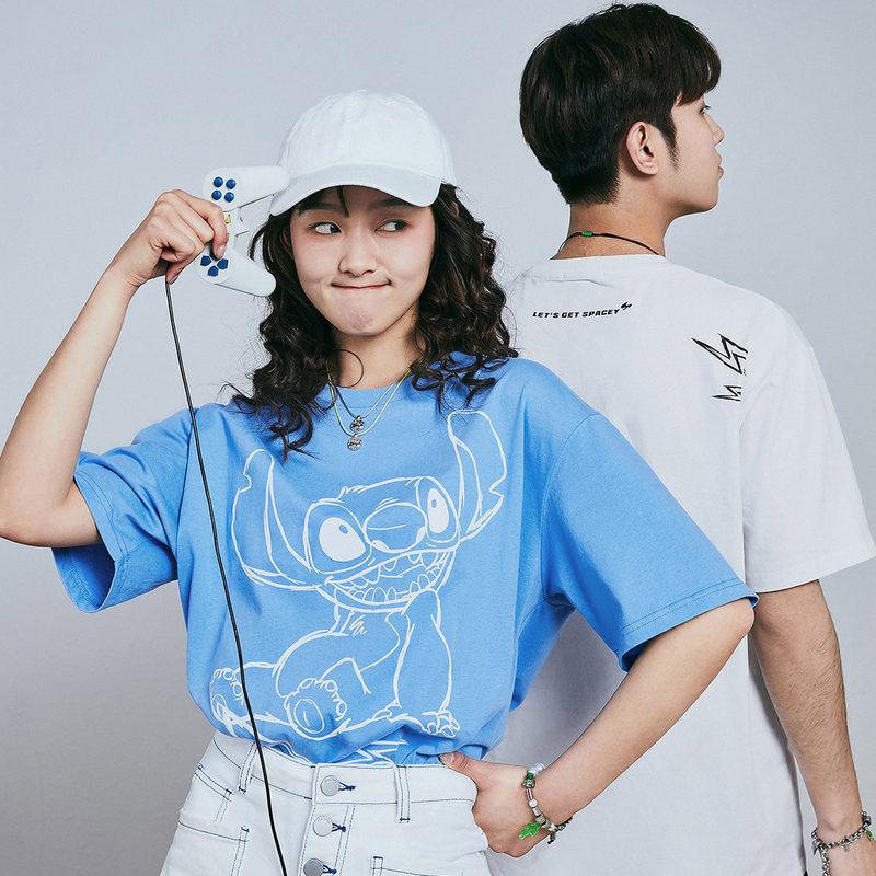 太平鸟男装 短袖T恤男情侣衫大图案印花体恤史迪奇系列夏装潮韩版
