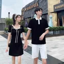 2021 new summer love hot bow female temperament lady dress men's lapel t-shirt boutique short sleeves
