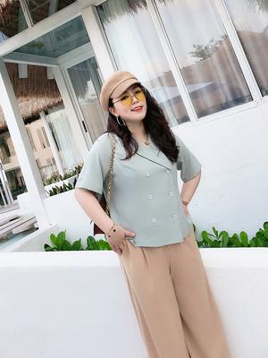 vogana戛纳家大码女装新款潮夏季韩系宽松雪纺短衬衫上衣微胖