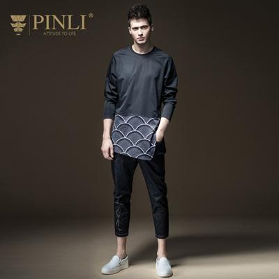 PINLI sản phẩm mùa xuân nam mỏng vòng cổ in dài tay áo đáy T-Shirt triều B173211228 áo thun lạnh nam Áo phông dài